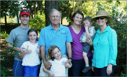 Steve Boutin with his wife Linda, daughter Alexis, her husband Ben, and their children Rosey, Eva, & Charlie